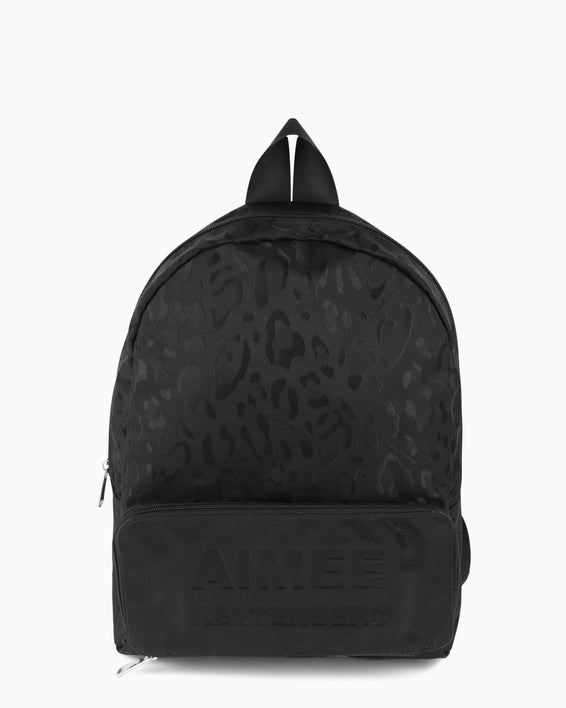 Packable Backpack - black leopard jacquard nylon front