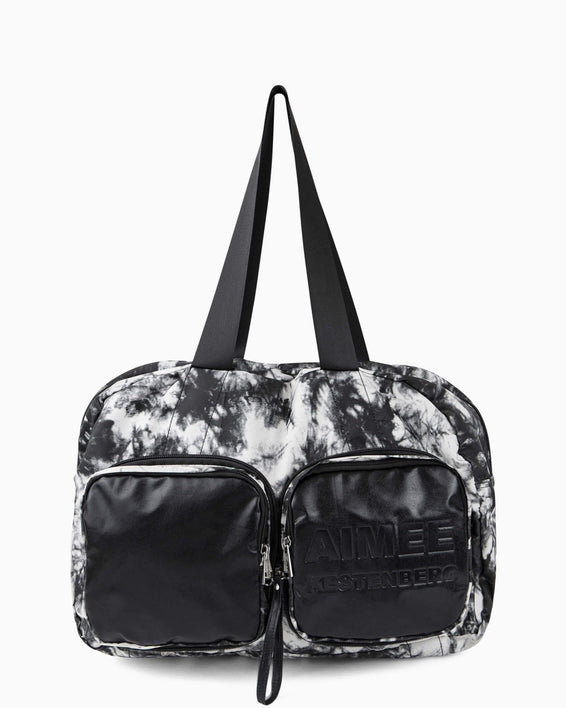 Packable Tote - vanilla tie dye nylon front