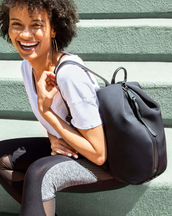 Tamitha Backpack - black neoprene on model