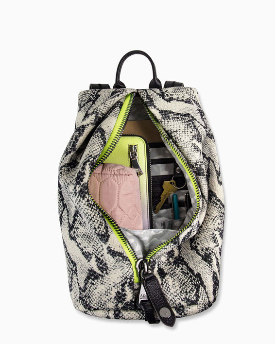 Tamitha Backpack - vanilla snake neoprene interior functionality