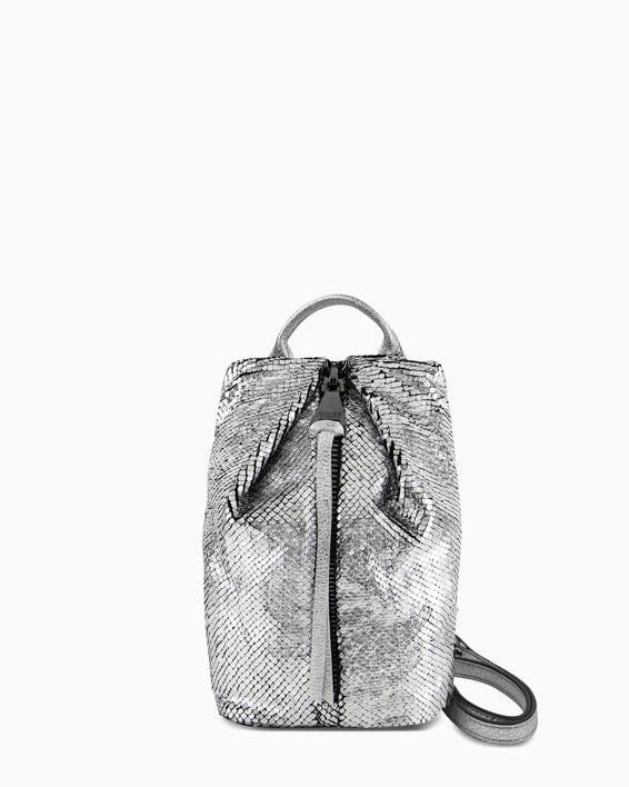Tamitha Mini Crossbody - silver scales front