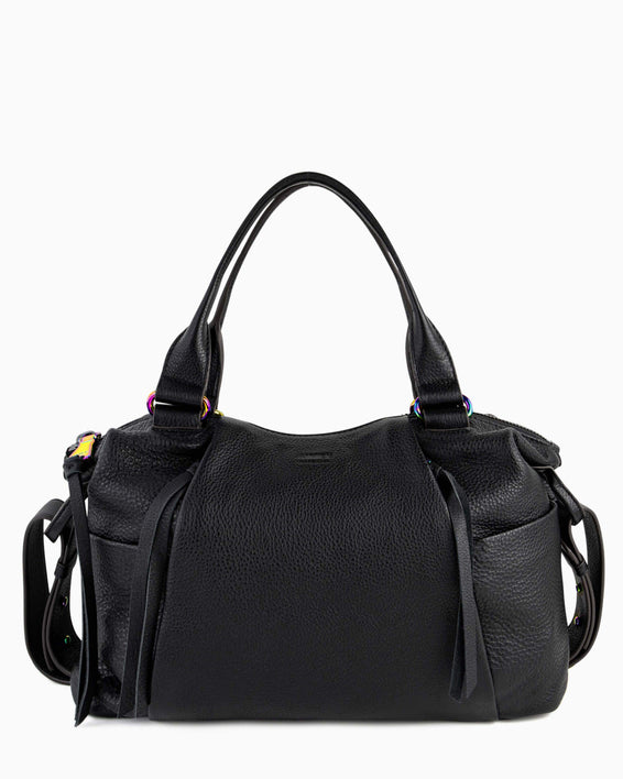 Tamitha Satchel - black with iridescent hardware front