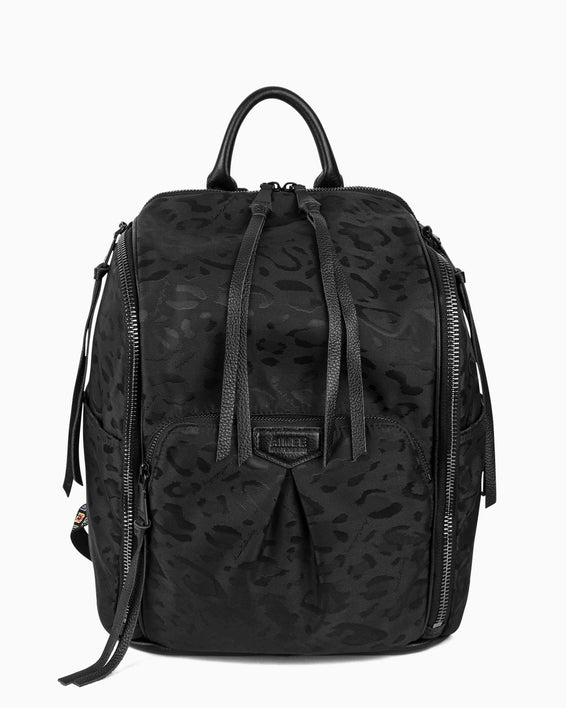 When In Rome Backpack - black leopard jacquard nylon front