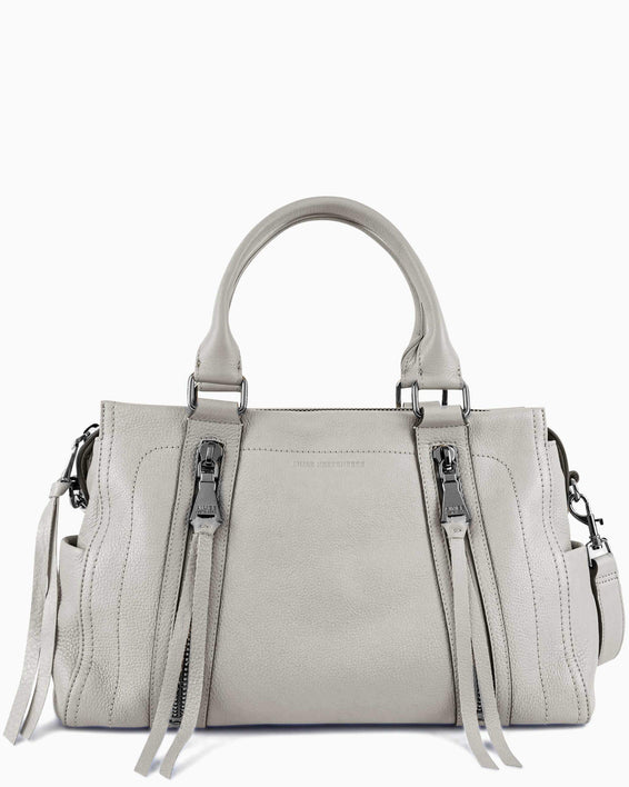 Zip Me Up Satchel - elephant grey front
