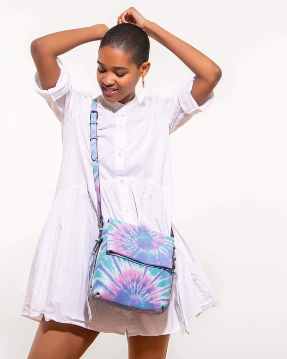 Bali Tall Crossbody Spiral Tie Dye - on model
