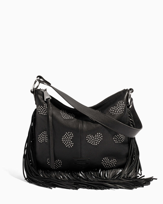 Beach Babe Fringe Hobo Black Heart Studded - front