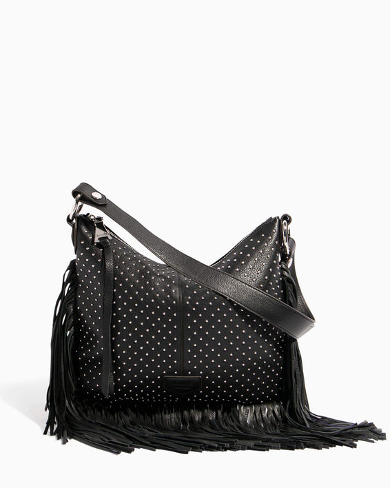Beach Babe Fringe Hobo Black Studded - front