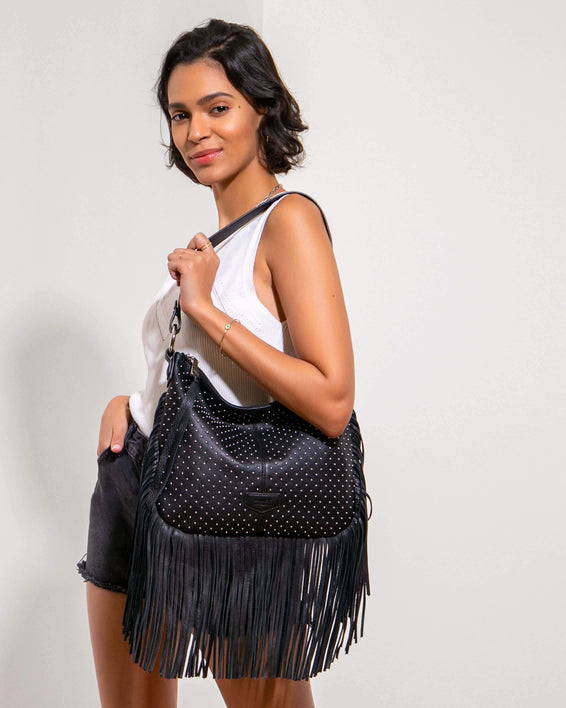 Beach Babe Fringe Hobo Black Studded - on model