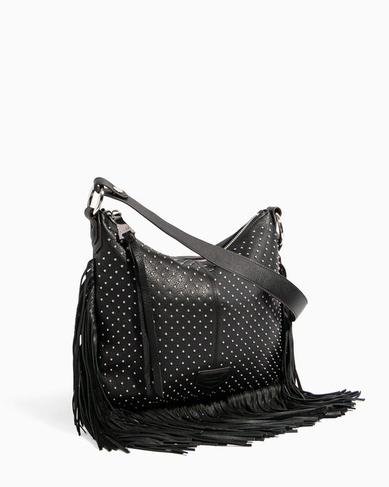 Beach Babe Fringe Hobo Black Studded - side angle