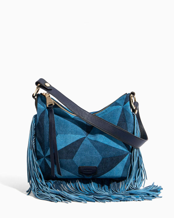 Beach Babe Fringe Hobo Denim Patchwork - front