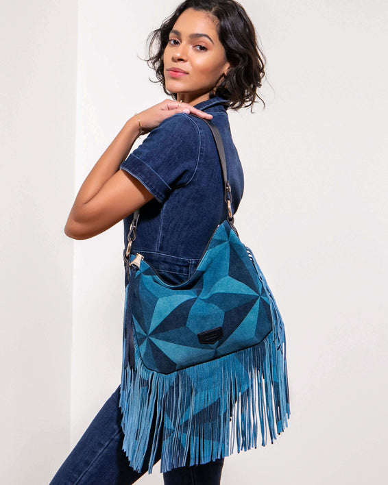 Beach Babe Fringe Hobo Denim Patchwork - on model