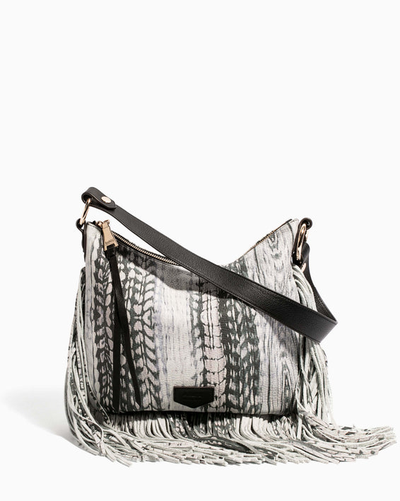 Beach Babe Fringe Hobo Feather Print - front