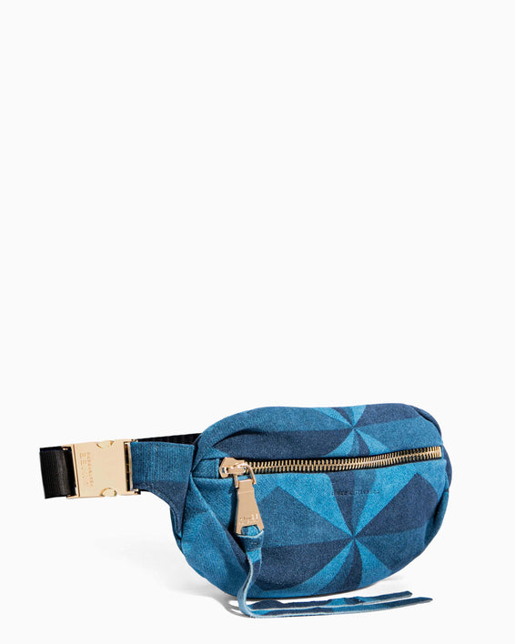 Milan Bum Bag Denim Patchwork - side angle