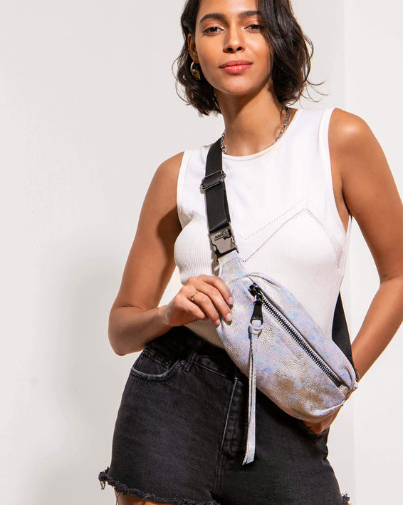 Milan Bum Bag Opal Distressed Metallic - on model