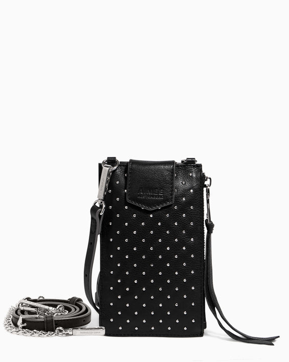 Out Of Office Phone Crossbody Black Studded - front