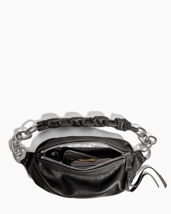 Outta This World Bum Bag With Chain Strap Black - interior functionality