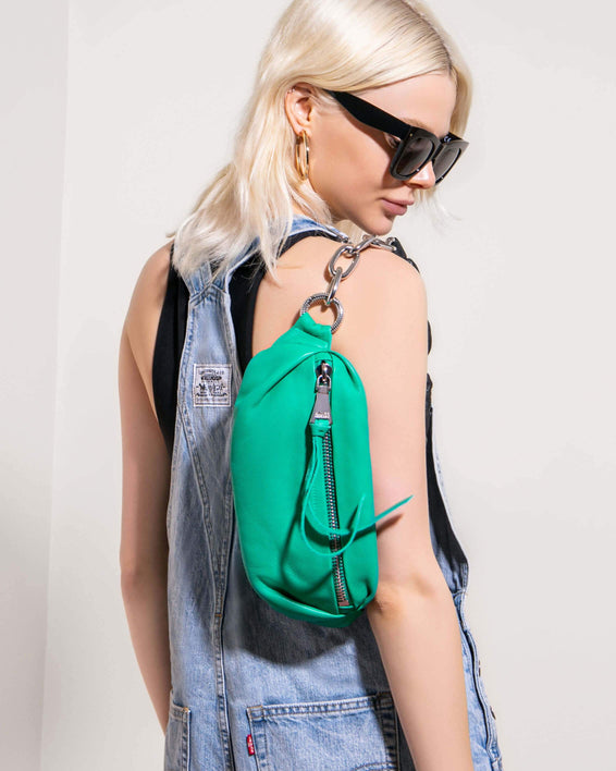 Outta This World Bum Bag With Chain Strap Earth Green - on model