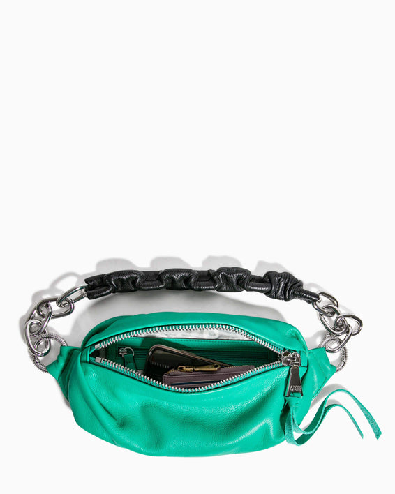 Outta This World Bum Bag With Chain Strap Earth Green - interior functionality