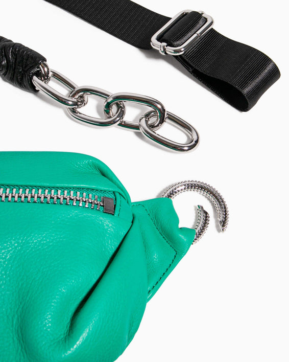 Outta This World Bum Bag With Chain Strap Earth Green - strap function