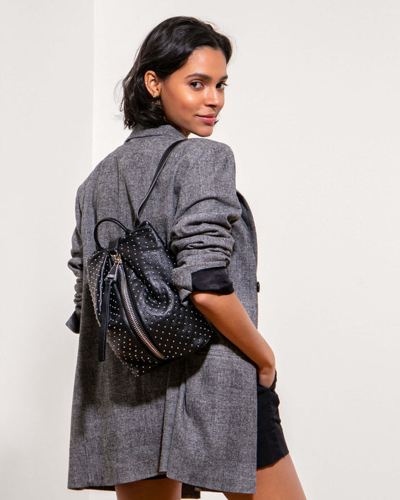 Tamitha Mini Backpack - black studded on model