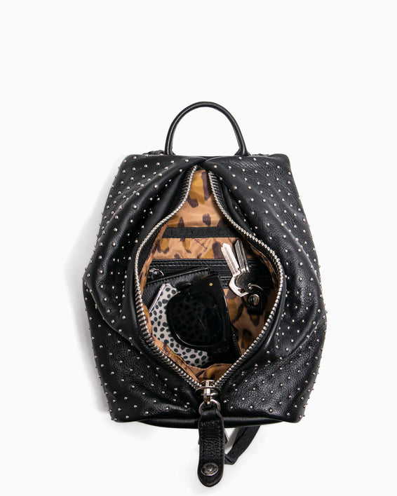 Tamitha Mini Backpack - black studded interior functionality