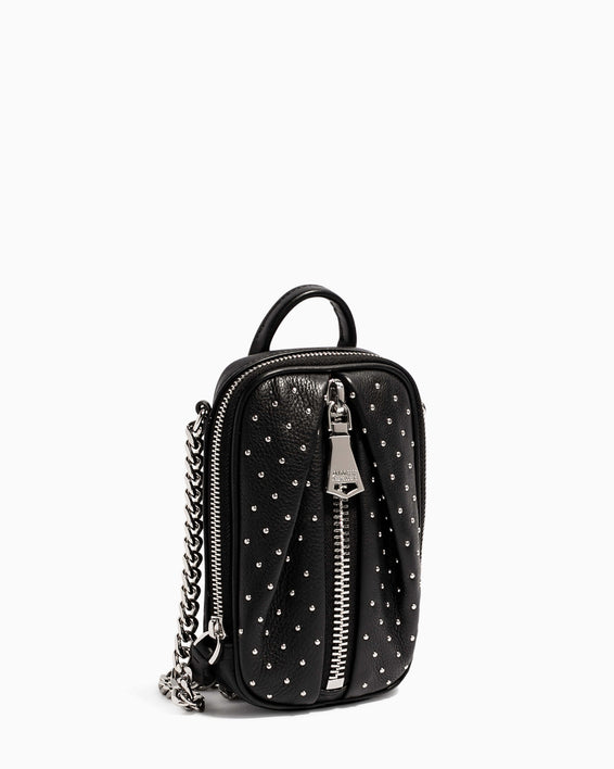 Tamitha Phone Crossbody Black Studded - side angle