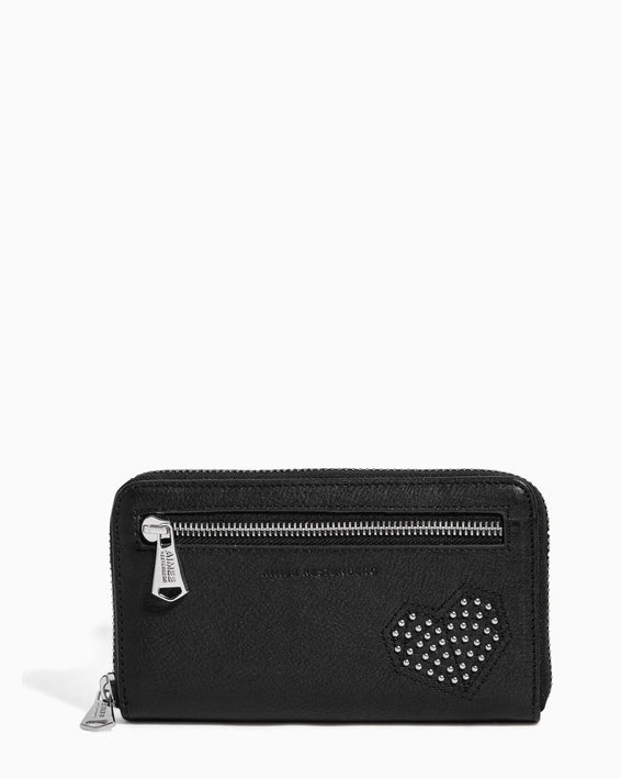 Zip It Up Continental Wallet Black Heart Studded - front