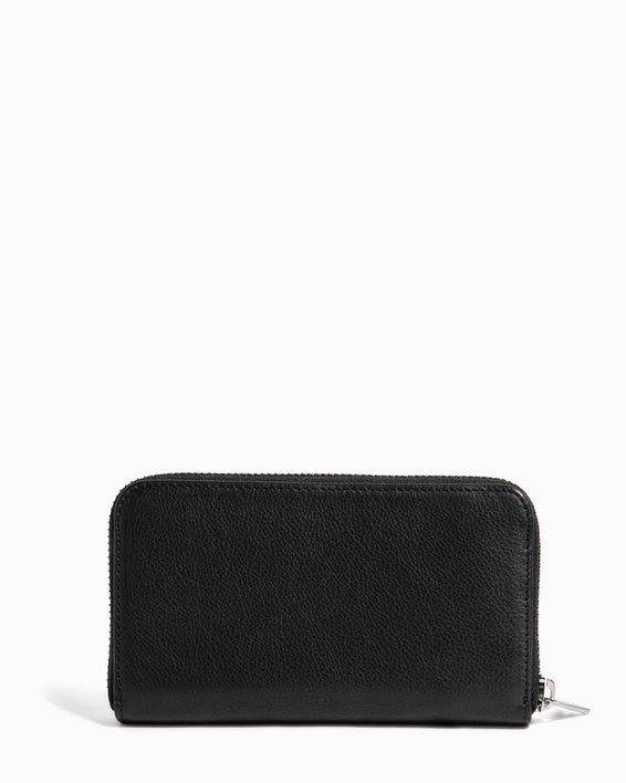 Zip It Up Continental Wallet Black Heart Studded - back