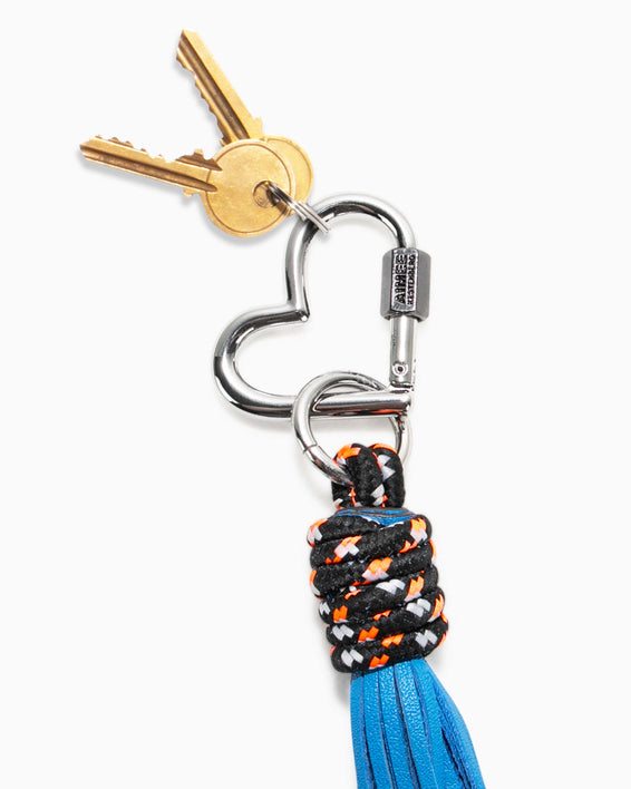 Climbing Rope Heart Tassel - sky blue key chain with keys
