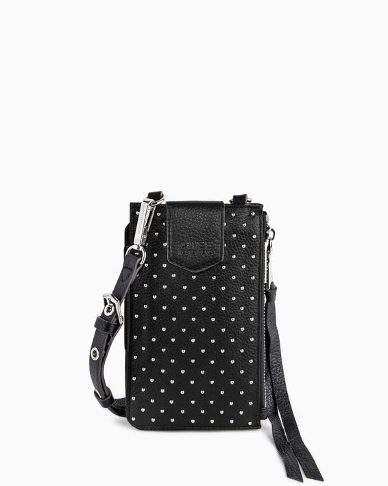 Out Of Office Phone Crossbody - black studded front