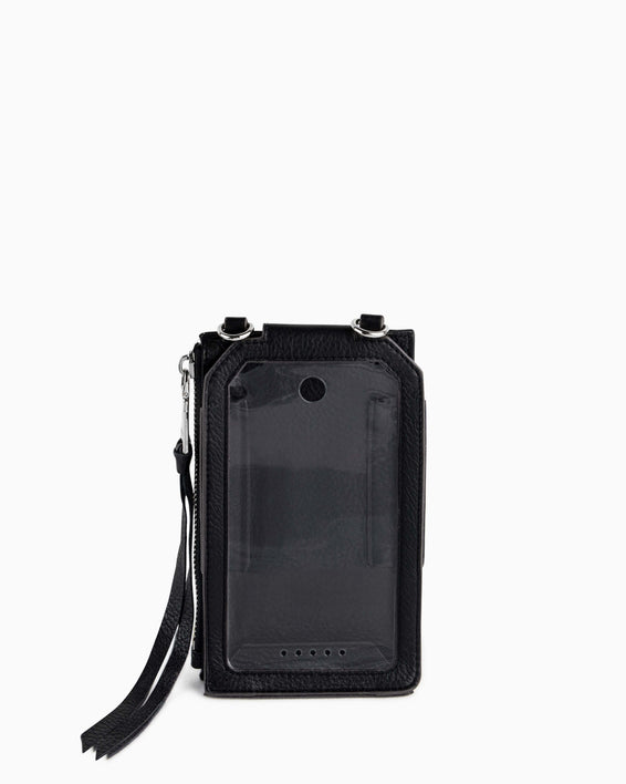 Out Of Office Phone Crossbody - black studded interior functionality
