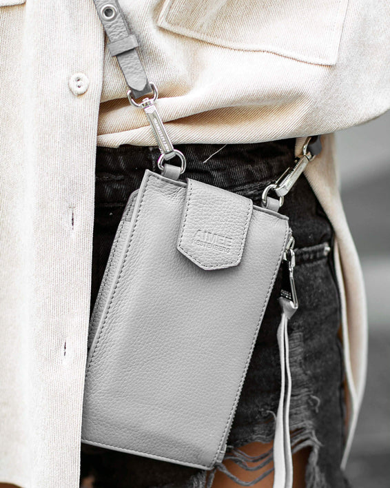 Out Of Office Phone Crossbody - elephant grey on model