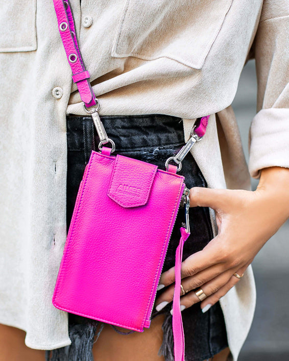 Out Of Office Phone Crossbody - pop pink on model
