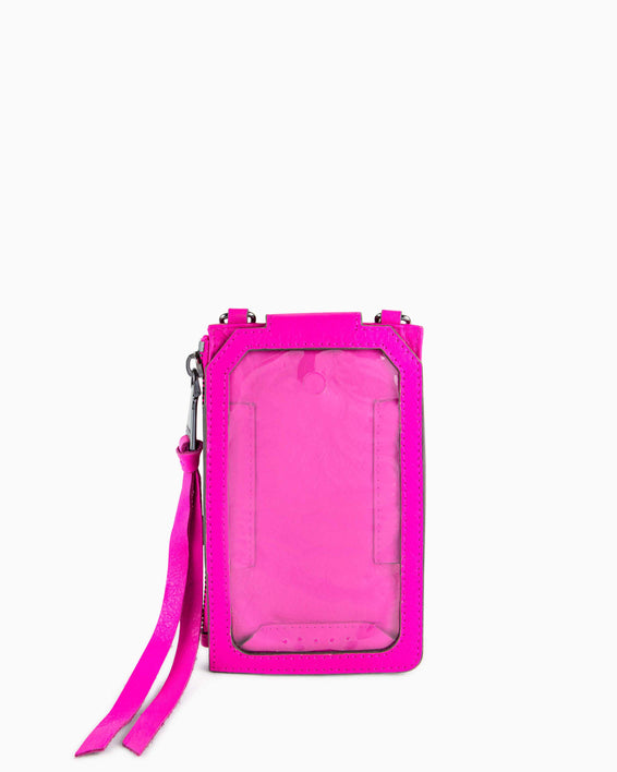 Out Of Office Phone Crossbody - pop pink inside