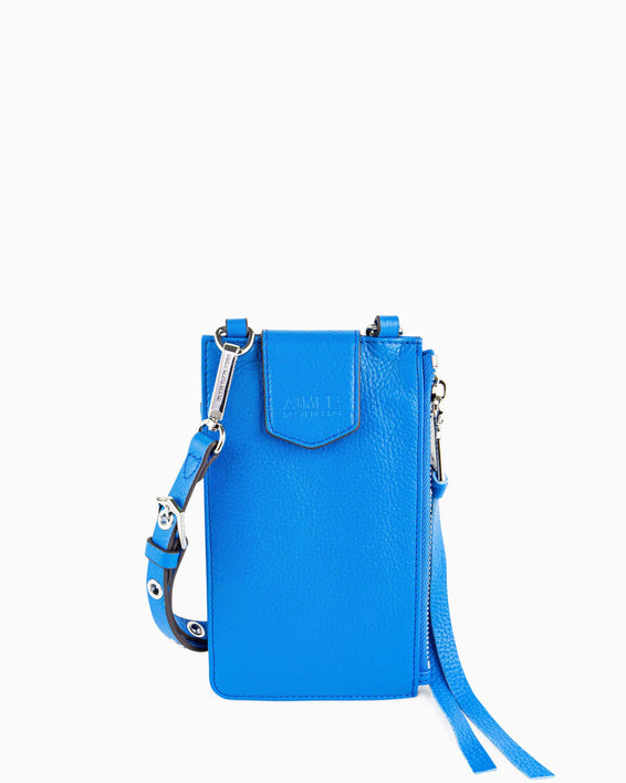 Out Of Office Phone Crossbody - sky blue front