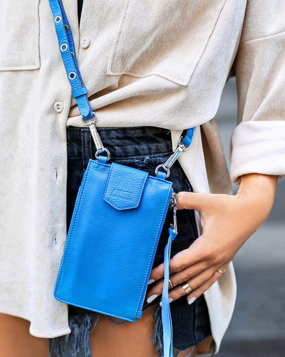 Out Of Office Phone Crossbody - sky blue on model