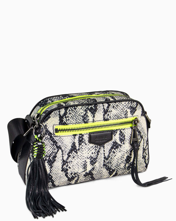 Sky High Crossbody - vanilla snake nylon side angle