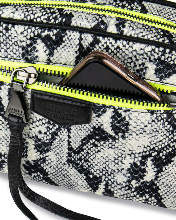 Sky High Crossbody - vanilla snake nylon detail