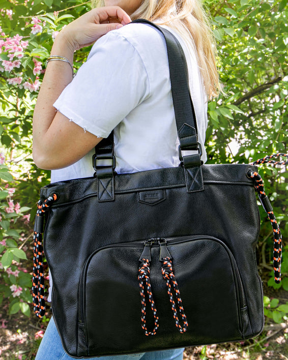 Sky High Tote - black on model