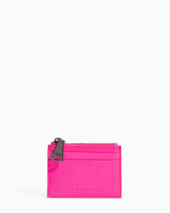 Zip It Up Card Case - pop pink front