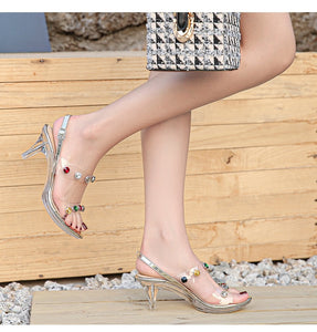 Shoes High Heels Sandals Transparent Ladies Clear Open Toe Crystal