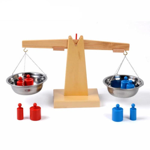 Baby Toy Montessori Wooden Balance Beam Weighing