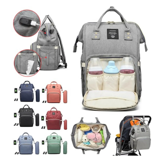 Waterproof Stylish Baby Diaper Nappy Bag Tote for Mommys & Daddys on the Go Travel USB Port Backpack