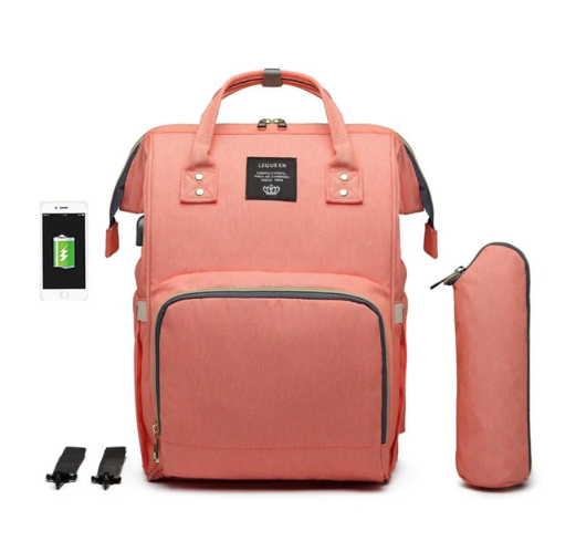 Orange Diaper Bag Backpack with USB Phone Charger, Insulated Bottle Keeper & Stroller Straps