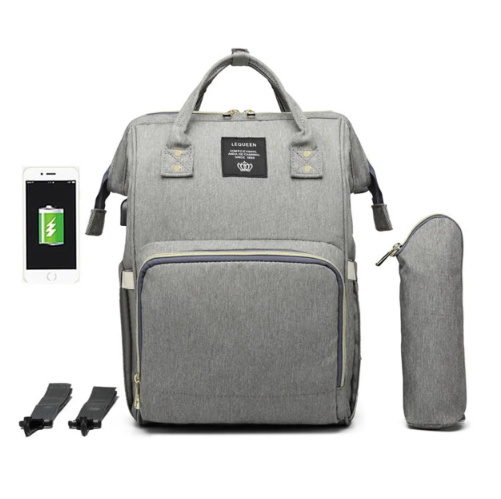 Grey Diaper Bag Backpack with USB Phone Charger, Insulated Bottle Keeper & Stroller Straps