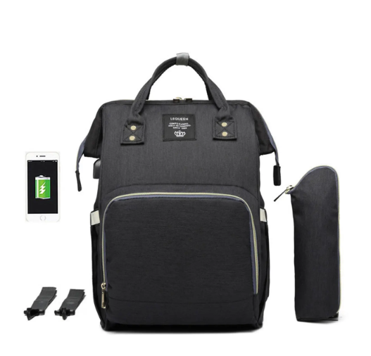 Black Diaper Bag Backpack with USB Phone Charger, Insulated Bottle Keeper & Stroller Straps