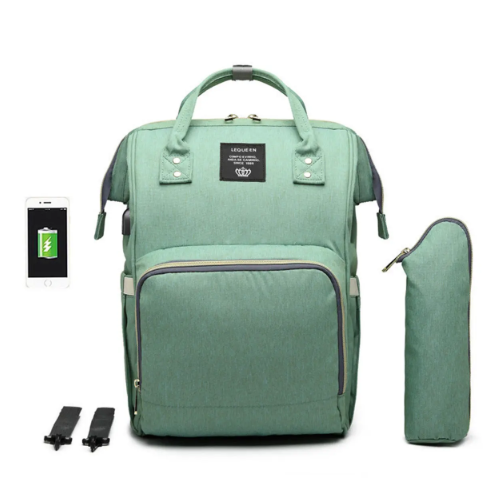 Green Diaper Bag Backpack with USB Phone Charger, Insulated Bottle Keeper & Stroller Straps