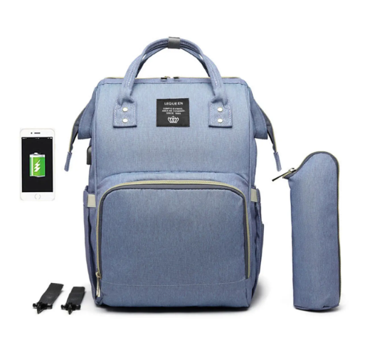 Light Purple Blue Diaper Bag Backpack with USB Phone Charger, Insulated Bottle Keeper & Stroller Straps
