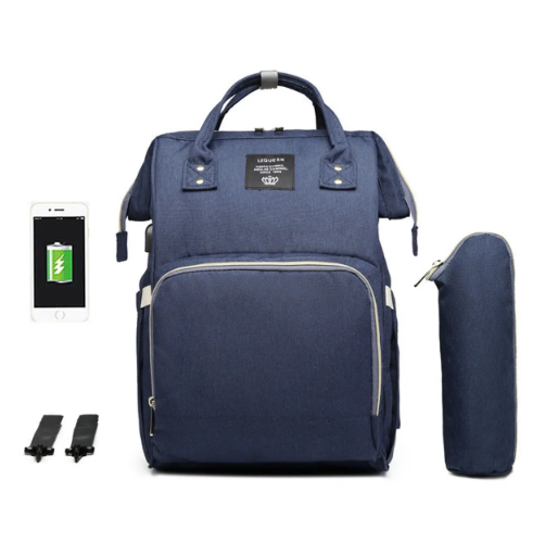Navy Blue Diaper Bag Backpack with USB Phone Charger, Insulated Bottle Keeper & Stroller Straps