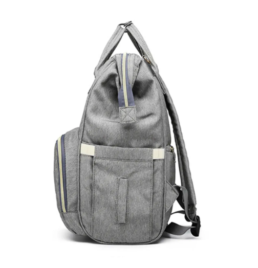 Side View - Grey Diaper Bag Backpack with USB Phone Charger, Insulated Bottle Keeper & Stroller Straps